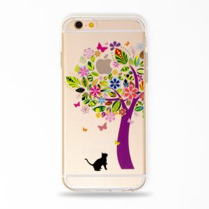 cute iphone case cat flower tree