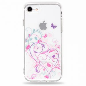 Butterfly Flowers Pink Purple Soft Clear Cute iPhone Case