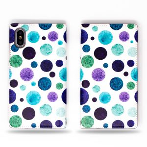 Polka Dot Green Purple Blue on White Wallet Case for iPhone