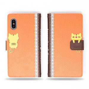 Cute Cat with Secret Fish in Hand Orange Wallet Case for iPhone