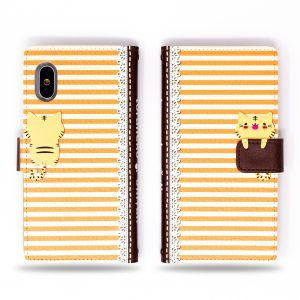 Cute Cat with Secret fish in hand orange yellow stripes Wallet Case for iPhone