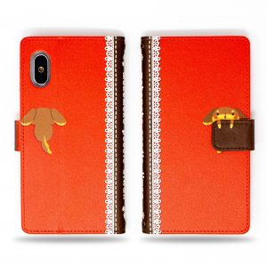 Poodle Dog with Secret Bone in Hand Orange Wallet Case for iPhone