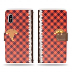 Cute Dog with Secret Bone in Hand red Plaid Wallet Case for iPhone