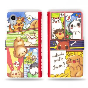 Mokomoko Poodle Kawaii Dog and Cat Characters Wallet Case for iPhone