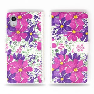 Cosmos Purple Flowers Wallet Case for iPhone