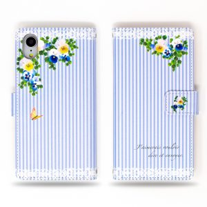 Viola Flowers Blue Stripe Wallet Case for iPhone