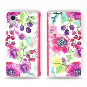 Berry Flowers Wallet Case for iPhone