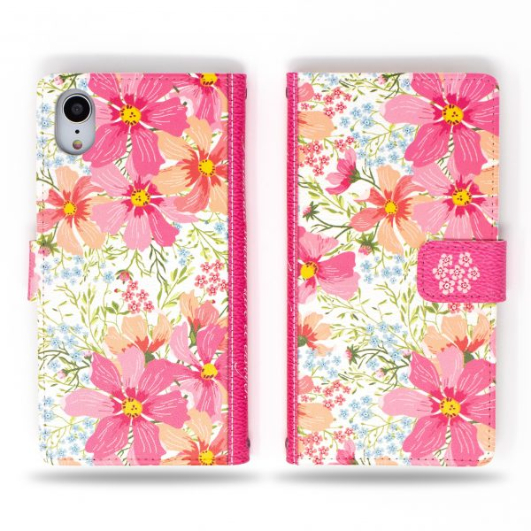Cosmos Pink Flower Wallet Case for iPhone